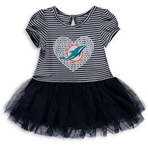 Girls Infant Miami Dolphins Navy/White Celebration Scoop Neck Tutu Dress
