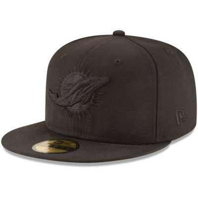 Men's Miami Dolphins New Era Black on Black 59FIFTY Fitted Hat