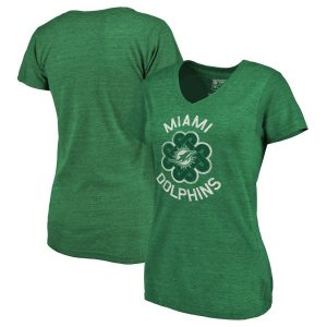 Miami Dolphins Women's St. Patrick's Day Luck Tradition Tri-Blend V-Neck T-Shirt