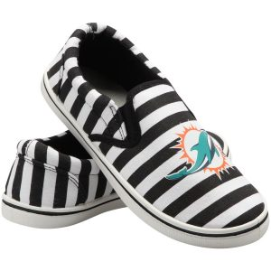 Miami Dolphins Women's Striped Canvas Slip-On Shoes