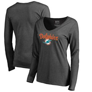 Women's Miami Dolphins Charcoal Freehand Long Sleeve V-Neck T-Shirt