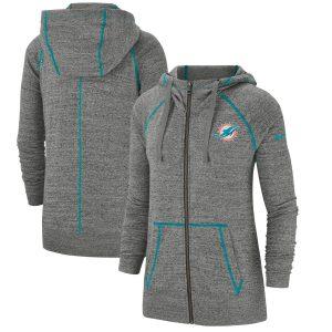 Women's Miami Dolphins Nike Heathered Gray Gym Vintage Raglan Full-Zip Hoodie