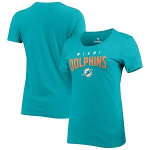 Women's Miami Dolphins Aqua Engage Arch Crewneck T-Shirt