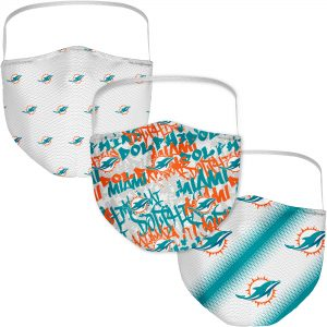 Miami Dolphins Adult Official Logo Face Covering 3-Pack