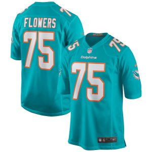 Men's Miami Dolphins Ereck Flowers Nike Aqua Game Jersey
