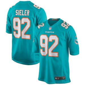 Men's Miami Dolphins Zach Sieler Nike Aqua Game Jersey