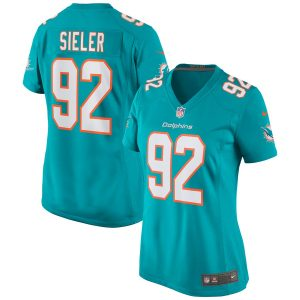 Women's Miami Dolphins Zach Sieler Nike Aqua Game Jersey